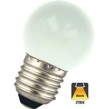 E27 1w Bol Lamp, 30 Lumen, Matte Kap, 2650K Warm Wit