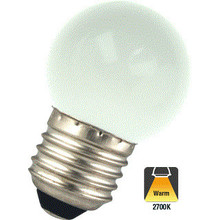 E27 1w Bol Lamp, 45 Lumen, Matte Kap, 2650K Warm Wit