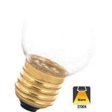 E27 1w Bol Lamp, 45 Lumen, Transparante Kap, 2650K Warm Wit