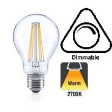 E27 7w Filament A60, Classic Globe, 806 Lumen, 2700K Warm Wit, Dimbaar, 2 Jaar Garantie