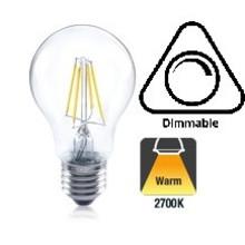 E27 4,5w Filament A60, Classic Globe, 407 Lumen, 2700K Warm Wit, Dimbaar, 2 Jaar Garantie