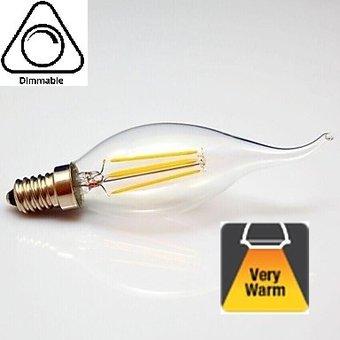 E14 4w Filament Kaarslamp, 2100K Flame, 300 Lumen, Dimbaar, 2 jaar Garantie