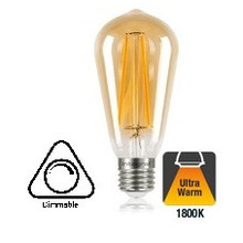 E27 5w Filament ST64 lamp, 1800K Extra Flame, Dimbaar, 2 Jaar garantie