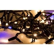 LED Kerstverlichting 2900K met Blauwe Fonkel, 10 Meter, 100 Lampjes, 9,6W, IP44