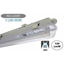 Complete LED TL Armatuur 60cm 10W, 1200LM (High Lumen), 4000K Neutraal Wit, IP65, Incl. 1x led buis, 2 Jaar garantie