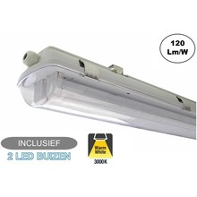 Complete LED TL Armatuur 60cm 20W, 2400LM (High Lumen), 3000K Warm Wit, IP65, Incl. 2x led buizen, 2 Jaar garantie