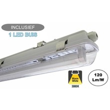 Complete LED TL Armatuur 120cm 18W, 2160LM (High Lumen), 3000K Warm Wit, IP65, Incl. 1x led buis, 2 Jaar garantie