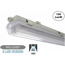 Complete LED TL Armatuur 120cm 36W, 4320LM (High Lumen), 4000K Neutraal Wit, IP65, Incl. 2x led buizen, 2 Jaar garantie