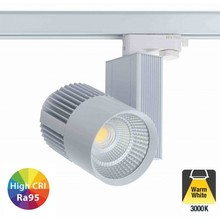 3 Fase Rail Spot 40w, 3600 Lumen, 3000K Warm wit, High CRI95, Wit body, 5 Jaar Garantie