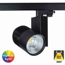 3 Fase Rail Spot 40w, 3600 Lumen, 3000K Warm wit, High CRI95, Zwart body, 5 Jaar Garantie