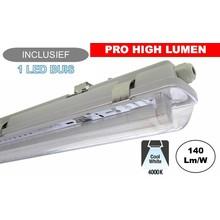 Complete LED TL Armatuur 120cm 20W, ±2800LM (Pro High Lumen), 4000K Neutraal Wit, IP65, Incl. 1x led buis, 3 Jaar garantie