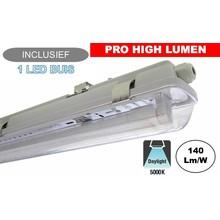 Complete LED TL Armatuur 120cm 20W, ±2940LM (Pro High Lumen), 5000K Puur Wit, IP65, Incl. 1x led buis, 3 Jaar garantie