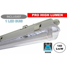 Complete LED TL Armatuur 120cm 20W, ±3080LM (Pro High Lumen), 6000K Daglicht Wit, IP65, Incl. 1x led buis, 3 Jaar garantie