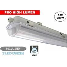 Complete LED TL Armatuur 120cm 40W, ±5600LM (Pro High Lumen), 4000K Neutraal Wit, IP65, Incl. 2x led buis, 3 Jaar garantie