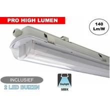 Complete LED TL Armatuur 120cm 40W, ±5880LM (Pro High Lumen), 5000K Puur Wit, IP65, Incl. 2x led buis, 3 Jaar garantie