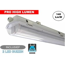 Complete LED TL Armatuur 120cm 40W, ±6160LM (Pro High Lumen), 6000K Daglicht Wit, IP65, Incl. 2x led buis, 3 Jaar garantie