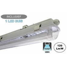 Complete LED TL Armatuur 120cm 18W, 2160LM (High Lumen), 5000K Puur Wit, IP65, Incl. 1x led buis, 2 Jaar garantie