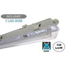 Complete LED TL Armatuur 120cm 18W, 2160LM (High Lumen), 6000K Daglicht Wit, IP65, Incl. 1x led buis, 2 Jaar garantie