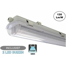 Complete LED TL Armatuur 120cm 36W, 4320LM (High Lumen), 5000K Puur Wit, IP65, Incl. 2x led buizen, 2 Jaar garantie