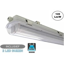 Complete LED TL Armatuur 120cm 36W, 4320LM (High Lumen), 6000K Daglicht Wit, IP65, Incl. 2x led buizen, 2 Jaar garantie