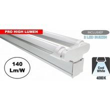 Complete LED TL Montagebalk 120cm, 40W, 5600LM (Pro High Lumen), 4000K Neutraal Wit, IP20, Incl. 2x led buis, 3 Jaar garantie