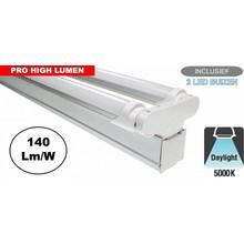 Complete LED TL Montagebalk 120cm, 40W, 5880LM (Pro High Lumen), 5000K Puur Wit, IP20, Incl. 2x led buis, 3 Jaar garantie