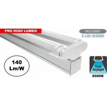 Complete LED TL Montagebalk 120cm, 40W, 6160LM (Pro High Lumen), 6000K Daglicht Wit, IP20, Incl. 2x led buis, 3 Jaar garantie