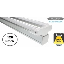 Complete LED TL Montagebalk 120cm, 36W, 4320LM (High Lumen), 3000K Warm Wit, IP20, Incl. 2x led buis, 2 Jaar garantie