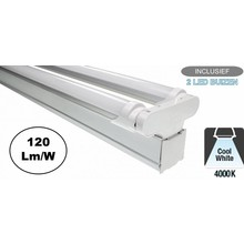 Complete LED TL Montagebalk 120cm, 36W, 4320LM (High Lumen), 4000K Neutraal Wit, IP20, Incl. 2x led buis, 2 Jaar garantie