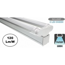 Complete LED TL Montagebalk 120cm, 36W, 4320LM (High Lumen), 5000K Puur Wit, IP20, Incl. 2x led buis, 2 Jaar garantie