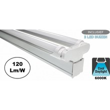 Complete LED TL Montagebalk 120cm, 36W, 4320LM (High Lumen), 6000K Daglicht Wit, IP20, Incl. 2x led buis, 2 Jaar garantie