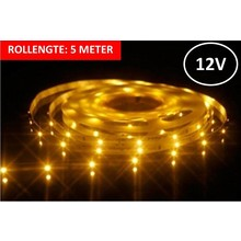 OP=OP Led Strip ROL 5 Meter 3528SMD, 3w/m, 30 led/m, 220Lm/m, 3000K Warm wit, 12v, IP33, 8mm, 3 Jaar garantie
