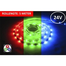 Led Strip ROL 5 Meter 5050SMD, 8,64w/m, 30 led/m, 450Lm/m, RGB, 24v, IP33, 10mm, 3 Jaar garantie