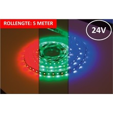 Led Strip ROL 5 Meter 5050SMD, 12w/m, 72 led/m, 900Lm/m, RGB+3000K, 24v, IP33, 12mm, 3 Jaar garantie