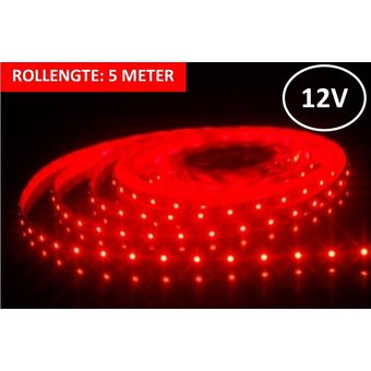 Led Strip ROL 5 meter 3528SMD, 6w/m, 60 led/m, 138Lm/m, Rood, 12v, IP33, 8mm, 3 Jaar garantie