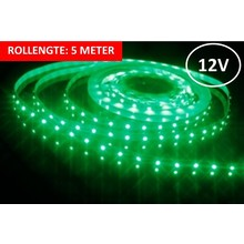 OP=OP Led Strip ROL 5 meter 3528SMD, 6w/m, 60 led/m, 240Lm/m, Groen, 12v, IP33, 8mm, 3 Jaar garantie