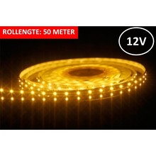 Led Strip ROL 50 meter 3528SMD, 6w/m, 60 led/m, 425Lm/m, 3000K Warm wit, 12v, IP33, 8mm, 3 Jaar garantie