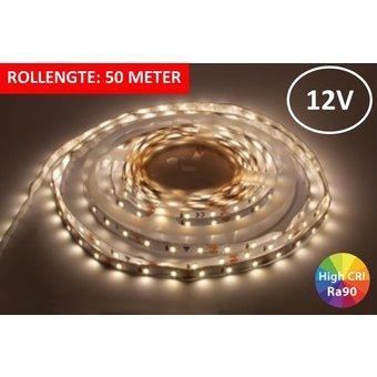 Led Strip ROL 50 meter 3528SMD, 6w/m, 60 led/m, 460Lm/m, 4000K Neutraal wit, 12v, CRI90, IP33, 8mm, 3 Jaar garantie