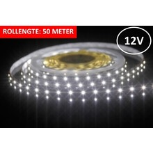 Led Strip ROL 50 Meter 3528SMD, 6w/m, 60 led/m, 460Lm/m, 6500K Daglicht wit, 12v, IP33, 8mm, 3 Jaar garantie