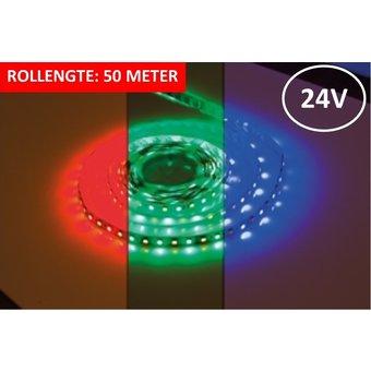 Led Strip ROL 50 Meter 5050SMD, 12w/m, 72 led/m, 900Lm/m, RGB+3000K, 24v, IP33, 12mm, 3 Jaar garantie