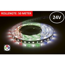 Led Strip ROL 50 Meter 5050SMD, 12w/m, 72 led/m, 900Lm/m, RGB+4000K, 24v, IP33, 12mm, 3 Jaar garantie