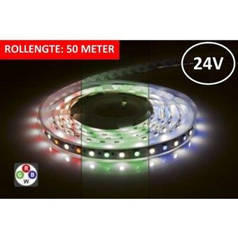 Led Strip ROL 50 Meter 5050SMD, 12w/m, 72 led/m, 900Lm/m, RGB+4000K, 24v, IP33, 12mm, 3 Jaar garantie