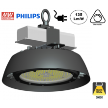 High Bay Led Ufo HUC 150w, 19500Lumen, 3500K Warm Wit,  IP65, MeanWell Driver, Dimbaar, Stekkerklaar, 3 Jaar Garantie