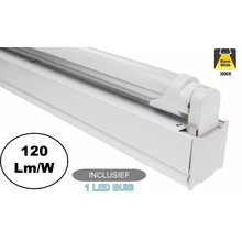 Complete LED TL Montagebalk 120cm, 18W, 2160LM (High Lumen), 3000K Warm Wit, IP20, Incl. 1x led buis, 2 Jaar garantie