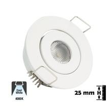 Inbouw LED Spot 1w, 80 Lumen, 4000K, Kantelbaar, Gatmaat 45mm, Wit, IP20, 2 Jaar Garantie