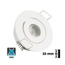 Inbouw LED Spot 1w, 80 Lumen, 6000K, Kantelbaar, Gatmaat 45mm, Wit, IP20, 2 Jaar Garantie