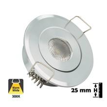 Inbouw LED Spot 1w, 80 Lumen, 3000K, Kantelbaar, Gatmaat 45mm, Zilver, IP20, 2 Jaar Garantie
