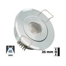 Inbouw LED Spot 1w, 80 Lumen, 4000K, Kantelbaar, Gatmaat 45mm, Zilver, IP20, 2 Jaar Garantie