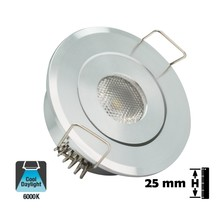 Inbouw LED Spot 1w, 80 Lumen, 6000K, Kantelbaar, Gatmaat 45mm, Zilver, IP20, 2 Jaar Garantie