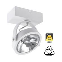 Opbouw LED Spot AR111, 15w, 800 Lumen, 3000K Warm Wit, Dimbaar, Wit Armatuur, 3 Jaar Garantie